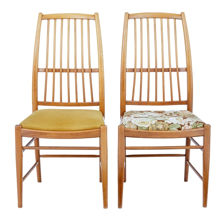 Fine set of 12 dining chairs designed by David Rosen in 1953.  Designed for Nordiska Kompaniet these high back dining chairs are known as the Napoli model.  Very comfortable and timeless piece of mid-20th century design. Drop in seats are