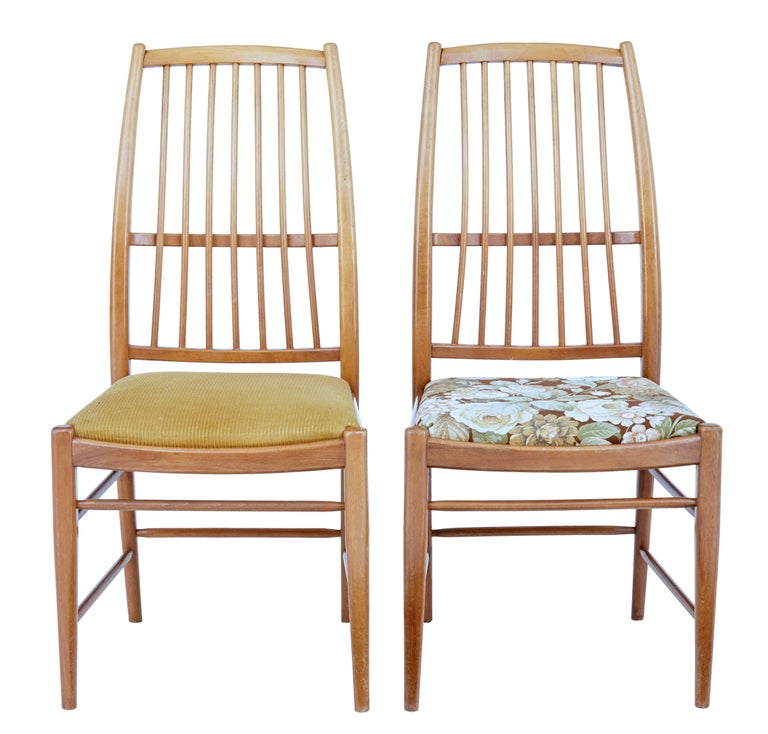 Fine set of 12 dining chairs designed by david rosen in 1953.  Designed for Nordiska Kompaniet these high back dining chairs are known as the napoli model.  Very comfortable and timeless piece of mid 20th century design. Drop in seats are