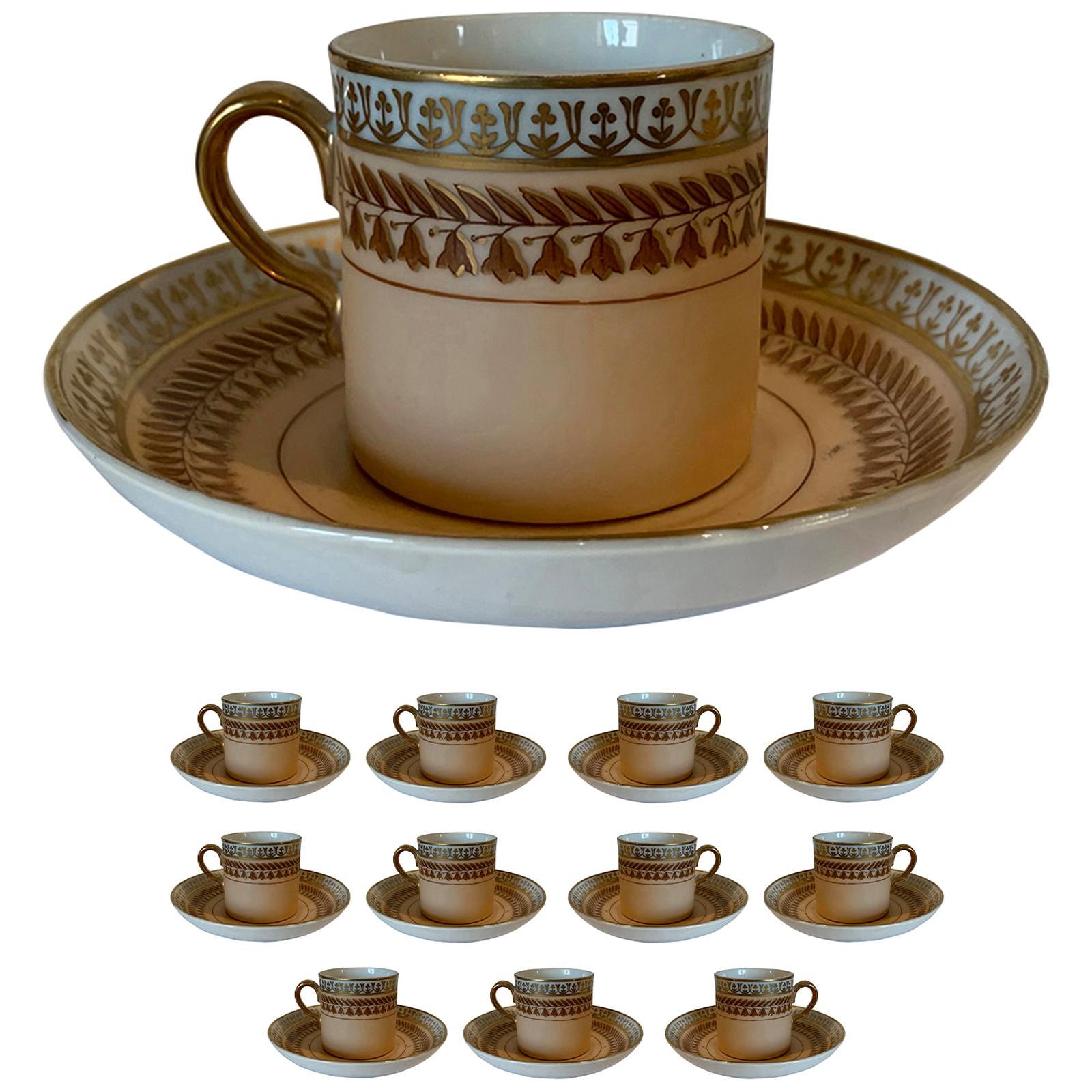 Set of 12 Old Paris Demitasse Cups & Saucers, Marked, Possibly Limoges Porcelain