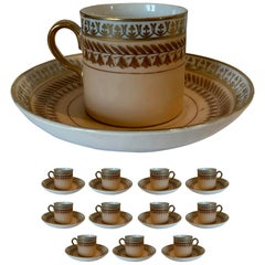 Set of 12 Old Paris Demitasse Cups & Saucers, Marked, Possibly Limoges Porcelain