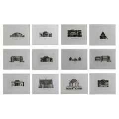Set of 12 Original Antique Architectural Prints, A.G. Cook, circa 1820