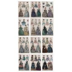 Set of 12 Original Antique Fashion Prints, circa 1840
