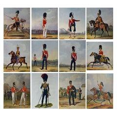 Set of 12 Original Antique Military Costume Prints, circa 1900