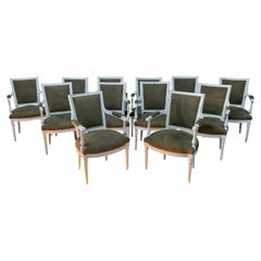 Set of 12 Painted Louis XVI Armchairs with Brown Suede Upholstery, 19th Century