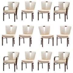 Set of 12 Paul Frankl Corset Back Dining Chairs, circa 1950