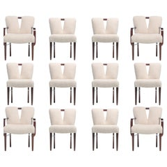 Set of 12 Paul Frankl Corset Back Dining Chairs in Ivory Bouclé, circa 1950