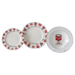Set of 12 Place Settings Andy Warhol White Campbells Soup Dinnerware