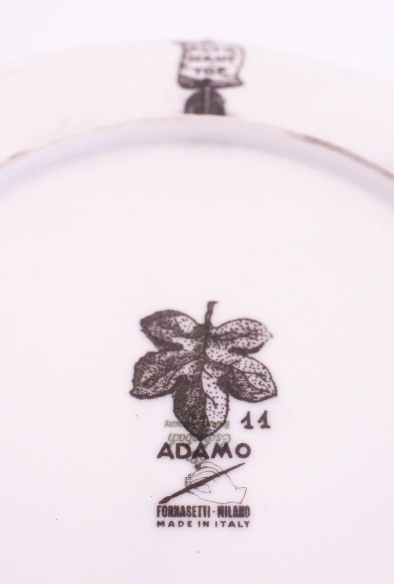 Italian Set of 12 Plates, Piero Fornasetti, Adamo / Adam For Sale