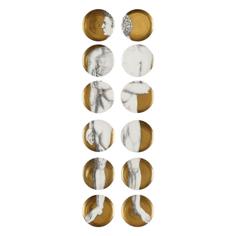 Set of 12 Plates, Piero Fornasetti, Adamo / Adam For Sale