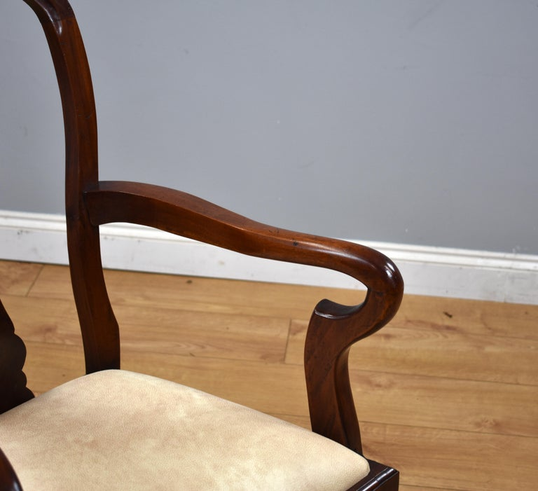 Mahogany Set of 12 Queen Anne Style Burr Walnut Dining Chairs For Sale