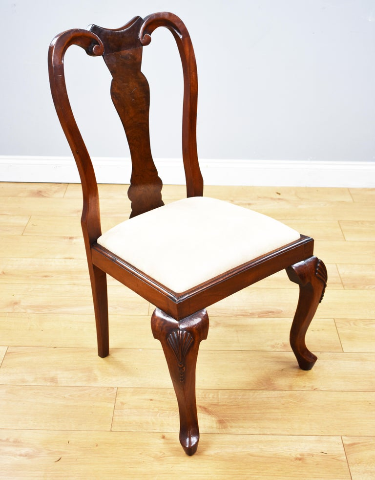 Set of 12 Queen Anne Style Burr Walnut Dining Chairs For Sale 2