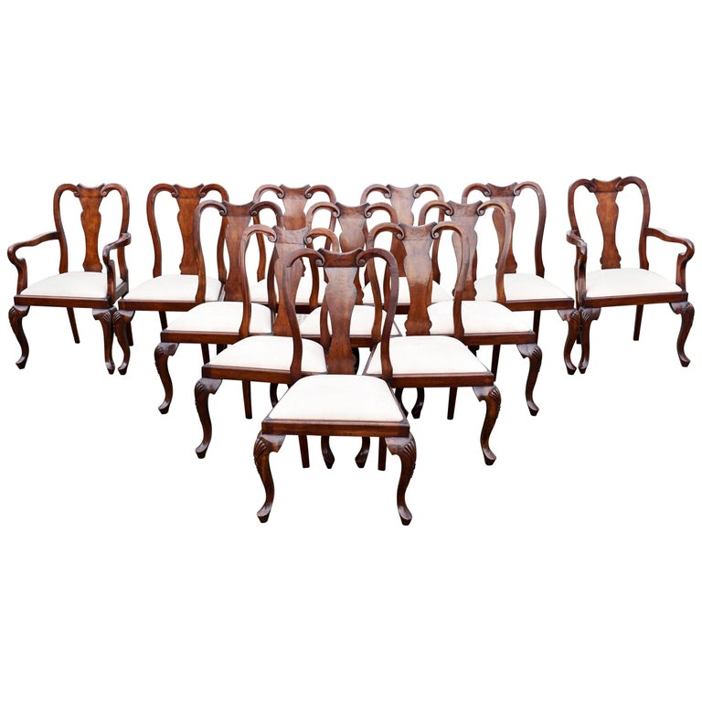 Set of 12 Queen Anne Style Burr Walnut Dining Chairs For Sale
