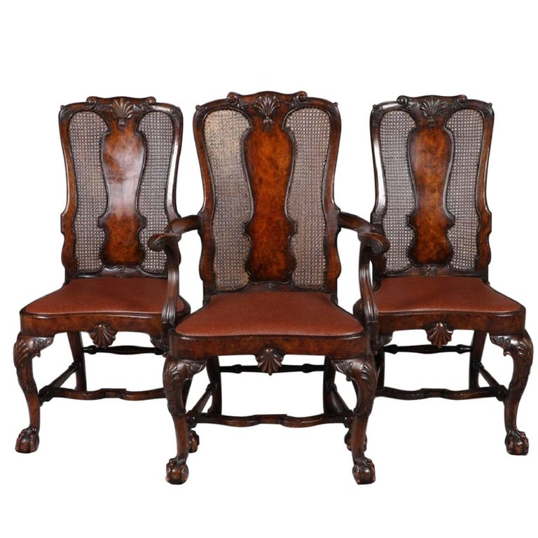 Set of 12 George I Style High Back Dining Chairs Gill & Reigate, London