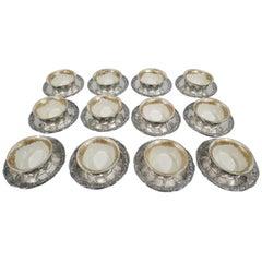 Set of 12 Rare Tiffany Chrysanthemum Bouillon Cups and Original Lenox Inserts