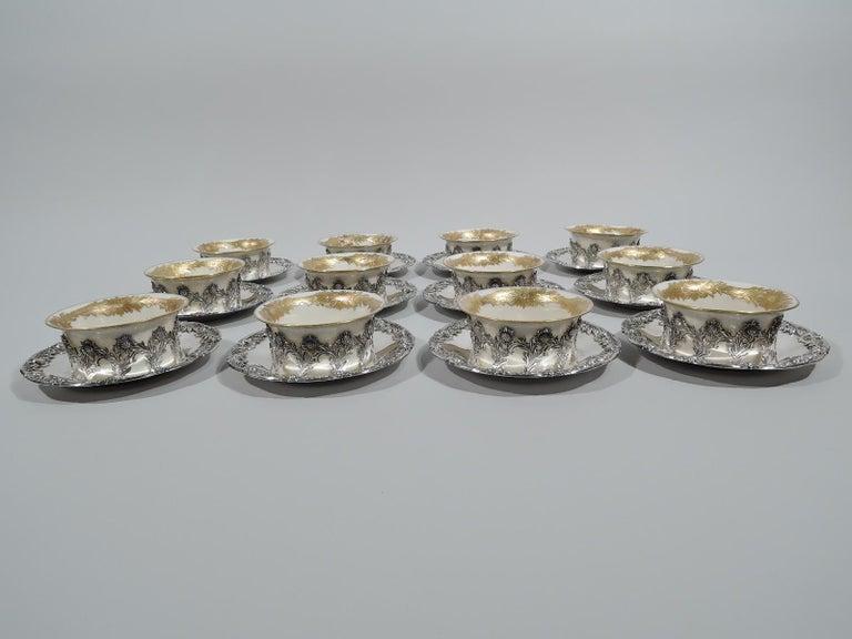 Japonisme Set of 12 Rare Tiffany Chrysanthemum Bouillon Cups and Original Lenox Inserts