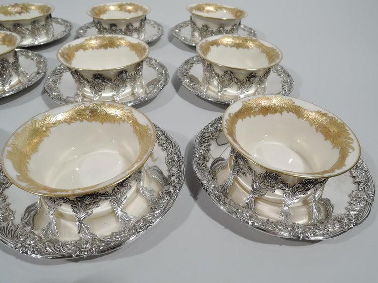 American Set of 12 Rare Tiffany Chrysanthemum Bouillon Cups and Original Lenox Inserts