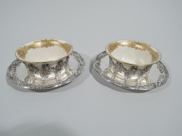 Gilt Set of 12 Rare Tiffany Chrysanthemum Bouillon Cups and Original Lenox Inserts