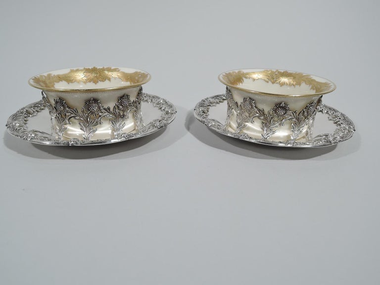 Set of 12 Rare Tiffany Chrysanthemum Bouillon Cups and Original Lenox Inserts In Excellent Condition In New York, NY