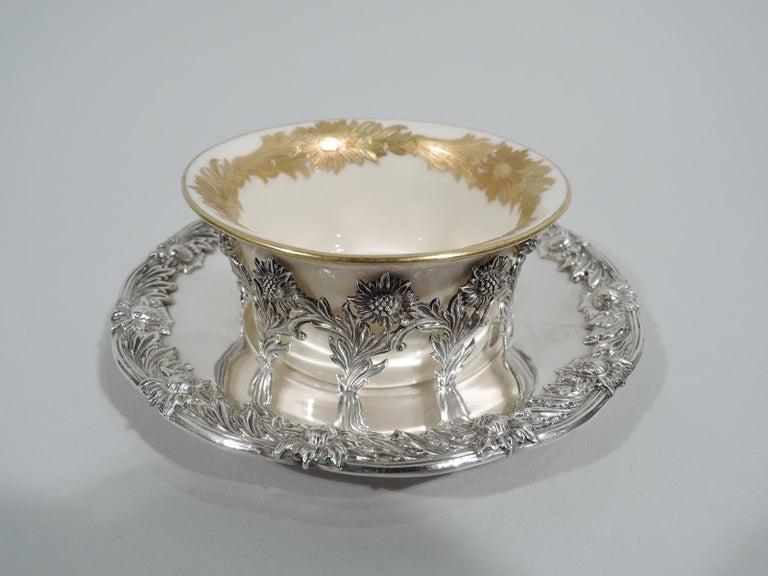 Early 20th Century Set of 12 Rare Tiffany Chrysanthemum Bouillon Cups and Original Lenox Inserts
