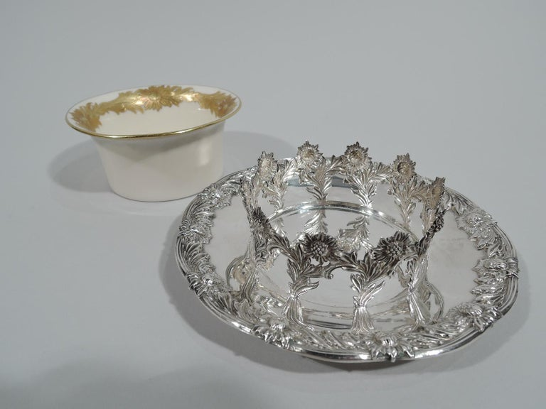 Sterling Silver Set of 12 Rare Tiffany Chrysanthemum Bouillon Cups and Original Lenox Inserts