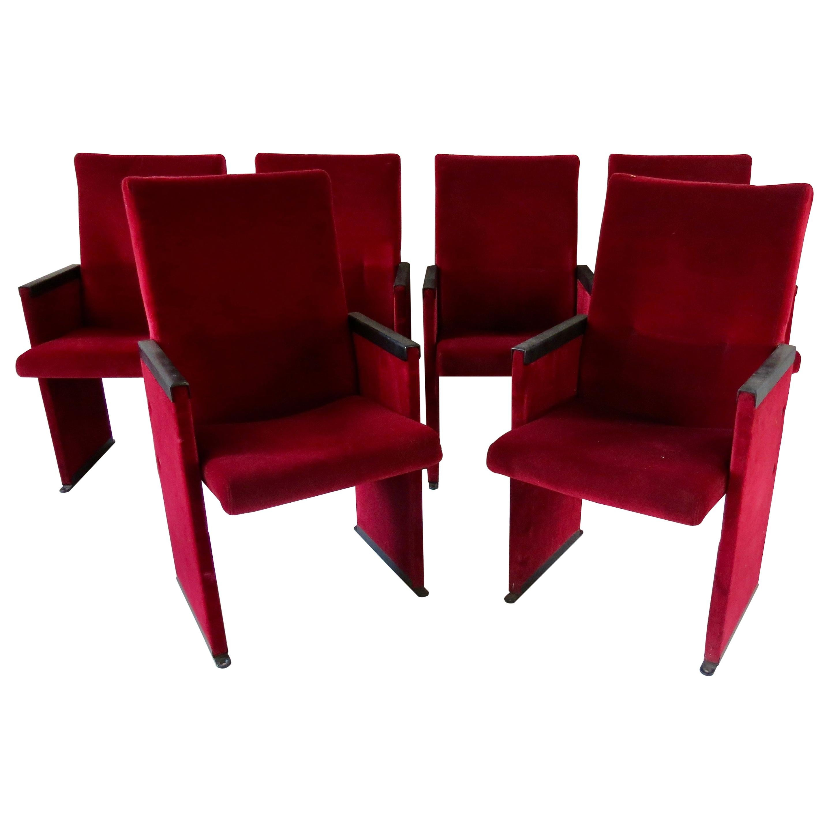 Set of 12 Red Velvet Carlo Scarpa Theatre Chairs, from the Auditorium Roma, 1960