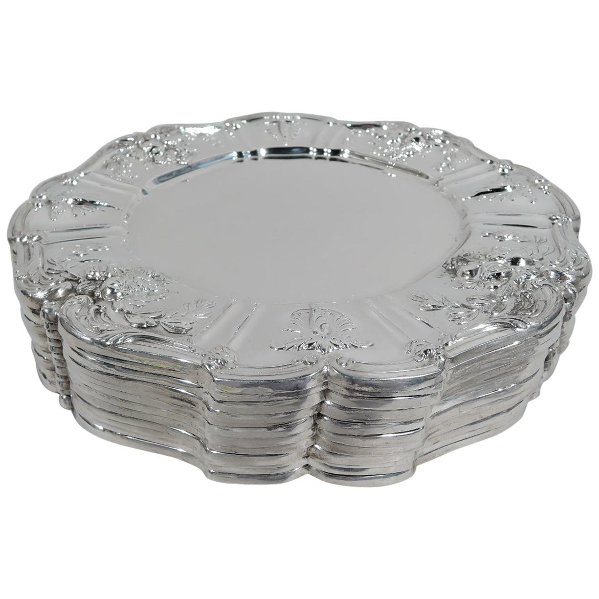 Set of 12 Reed & Barton Francis I Sterling Silver Dinner Plates