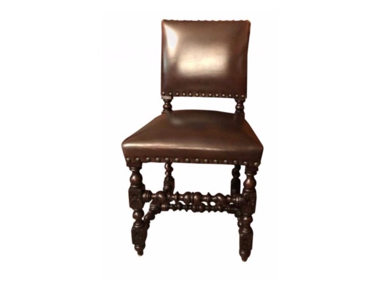 English Set of 12 Renaissance Style Carved Oak and Leather Upholstered Dining Chairs For Sale