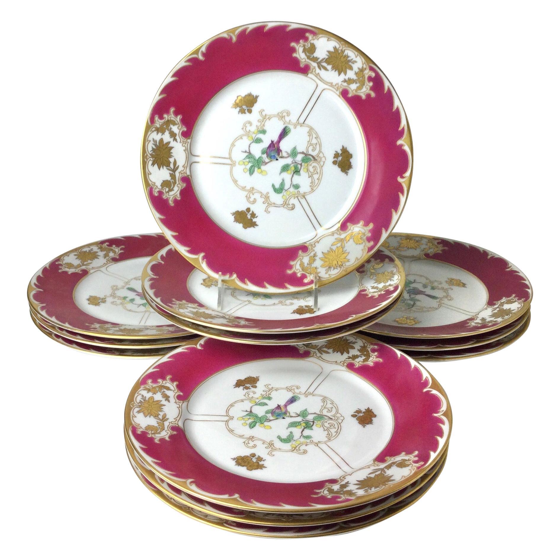 Set of 12 Royal Bayreuth Service Dinner Plates