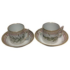 Set of 12 Royal Copenhagen Flora Danica Chocolate Cup No 20/3513