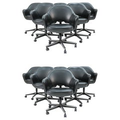 Set of 12 Saarinen for Knoll Executive Chairs in Black Leather with Swivel Bases