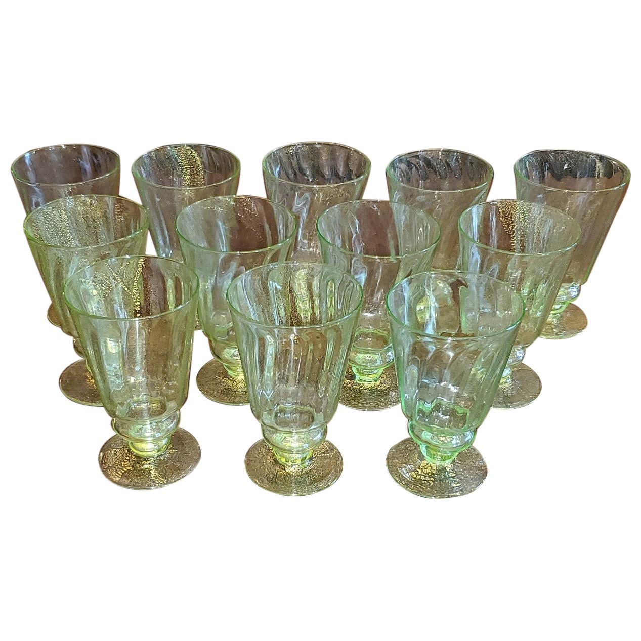 Set of 12 Salviati Venetian Green and Gold Flecked Beer or Water Glasses