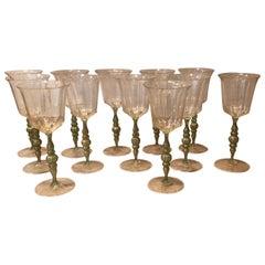 Set of 12 Salviati Venetian Wine Glasses