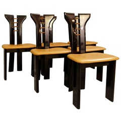 Set of 6 Sculptural 1970s Black Lacquer Pierre Cardin Chairs with Leather Seats