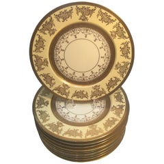 Set of 12 Service Dinner Plates with Vanilla and Gilt Borders