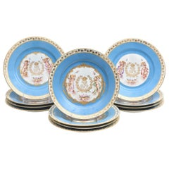 Set of 12 Sevres Turquoise Hand Painted Cabinet Display Plates, Gilt Accents