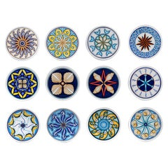 Set of 12 Sicilian Clay Hand-Painted Colapesce Dinner Plates, Made in Italy