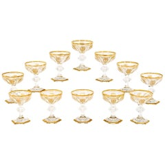 Set of 12 Signed Baccarat Empire Hand Blown Crystal Champagne/Martini Coupes
