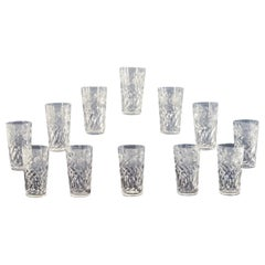 "Set of 12 Signed Hawkes Hand Blown Cut Crystal Tumblers ""Gravic Fruit"" Pattern"