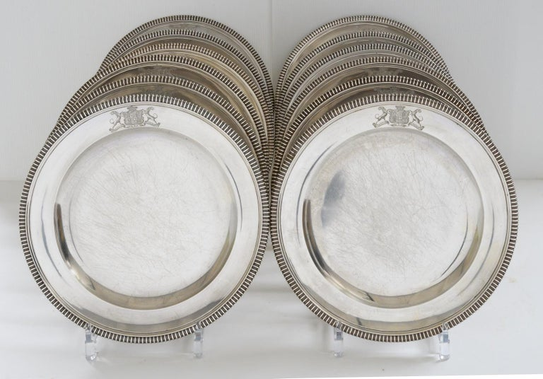 British Set of 12 Silver Dinner Plates by Paul Storr For Sale