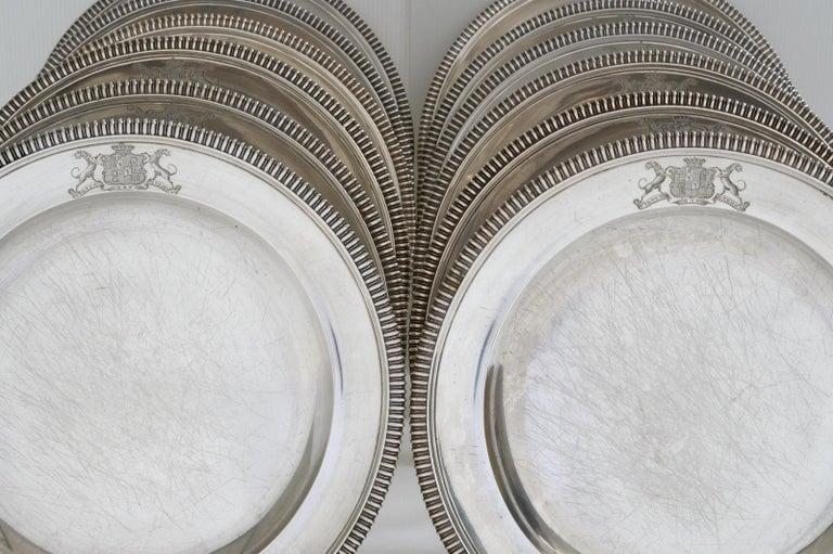 19th Century Set of 12 Silver Dinner Plates by Paul Storr For Sale