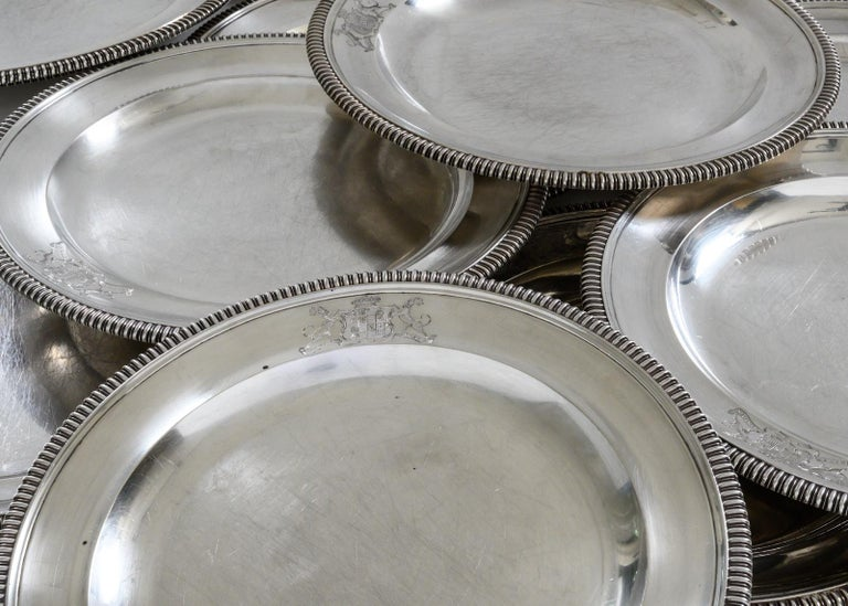 Sterling Silver Set of 12 Silver Dinner Plates by Paul Storr For Sale