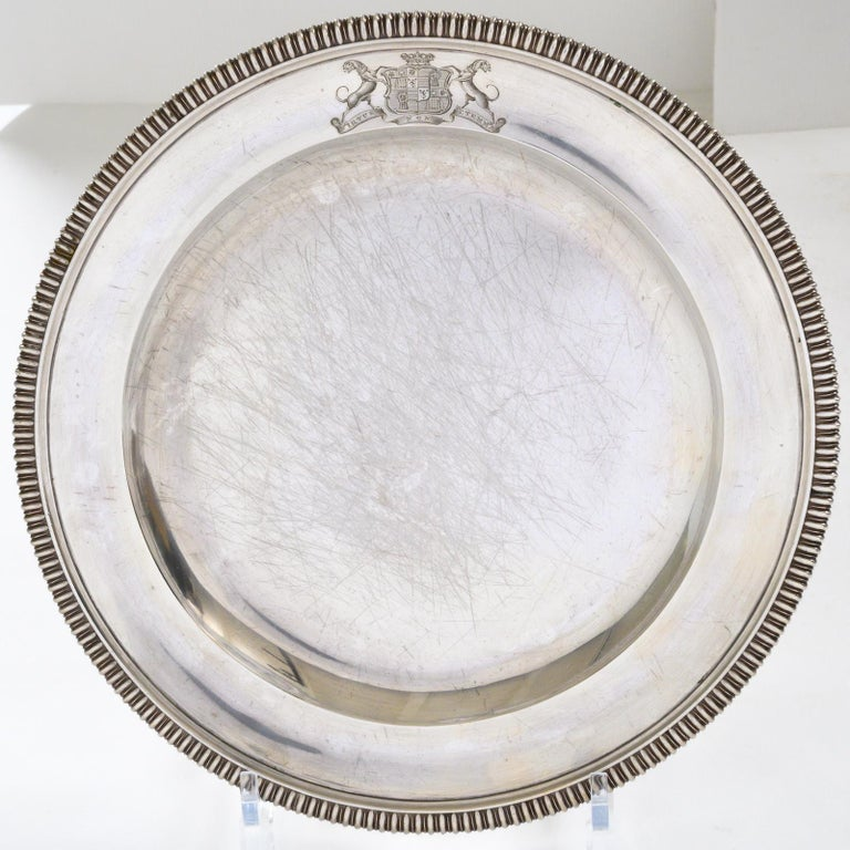 Set of 12 Silver Dinner Plates by Paul Storr For Sale 1