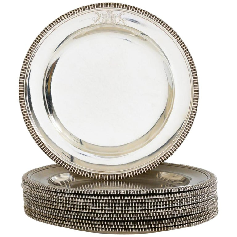 Set of 12 Silver Dinner Plates by Paul Storr For Sale