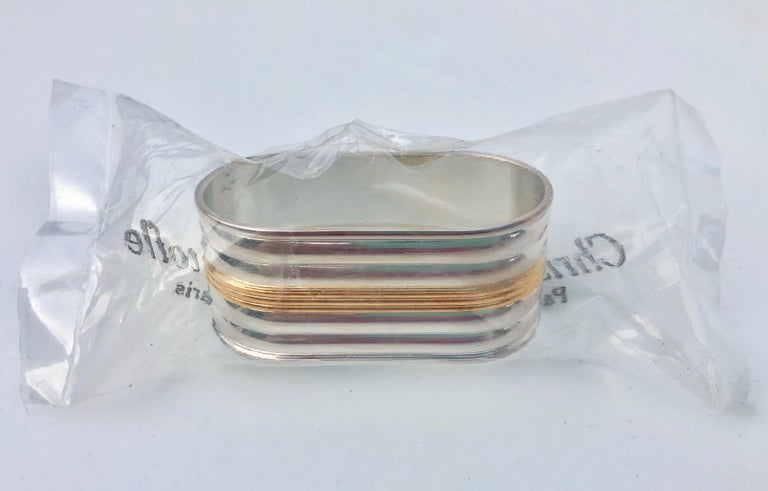 Art Deco Set of 12 Silver Plated Napkin Rings with Gold Accent, Model Aria by Christofle For Sale