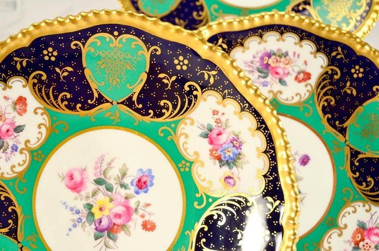 English Set of 12 Spode Copelands Dessert Plates, Bailey, Banks and Biddle, circa 1907 For Sale