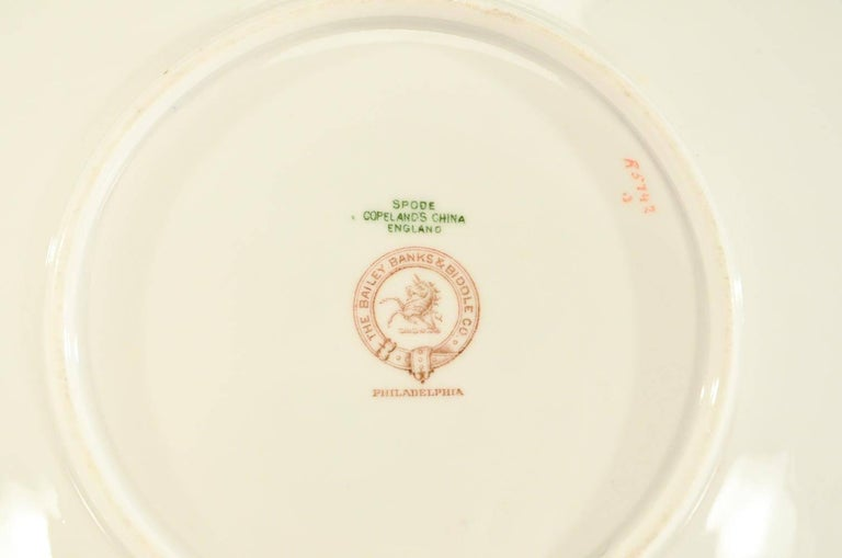Set of 12 Spode Copelands Dessert Plates, Bailey, Banks and Biddle, circa 1907 In Good Condition For Sale In Great Barrington, MA