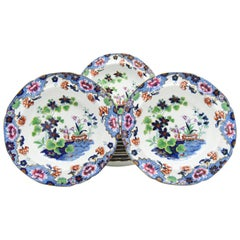 Set of 12 Spode Newstone Aesthetic Movement Japanese Garden Soup Bowls Ca. 1840