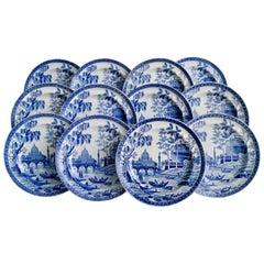 "Set of 12 Spode Pearlware Plates, Blue and White ""Tiber"", Regency 1811-1833"
