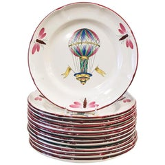 Set of 12 St. Clement Balloon Dessert Plates, circa 1930s