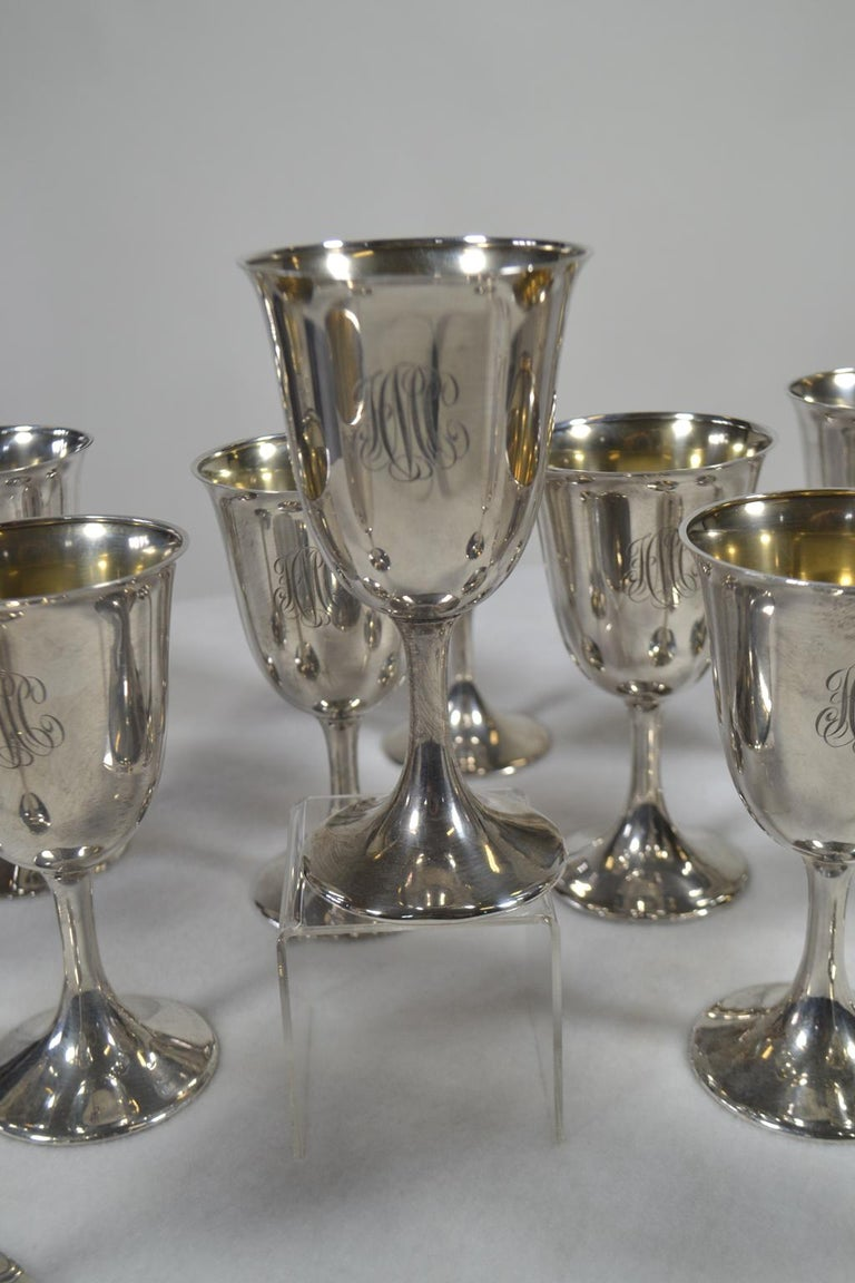 Set of 12 Sterling Silver Goblets In Good Condition For Sale In Vista, CA
